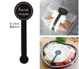"Wholesale Diy Cookie Lollipop - 500sheets (5000pcs) "" Hand Made "" black lollipop seal stickers decorative DIY gift stickers cookie sealing label"