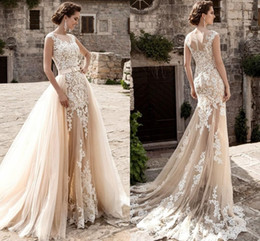Wholesale See Through Wedding Skirts - 2017 Champagne Full Lace Wedding Dresses Over Skirts Tulle See Through Vintage Appliqued Sash Detachable Train Boho Bridal Wedding Gowns