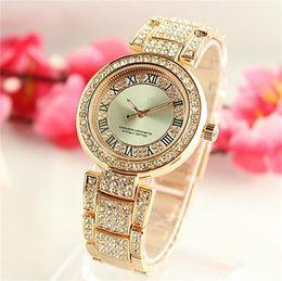 Wholesale Diamond Luxurious - Rome digital surface shell Rhinestone Diamond inlay Clock dial Luxurious fashion quartz Women Watches Full Steel Watches Wholesale