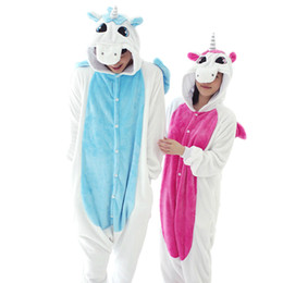 Wholesale Animal Costume Pajamas For Adults - New Flannel Blue Pink Unicorn Pijama Cartoon Cosplay Adult Unisex Homewear Onesies for adults animal Pajamas Men Women pajama unicornio