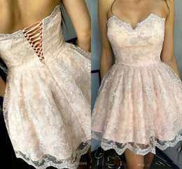 Wholesale Full Corset Sweetheart Dress - 2018 Short Mini Sexy Blush Pink Homecoming Dresses Sweetheart Corset Back Full Lace Appliques Party Graduation Plus Size Cocktail Gowns