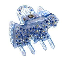 Wholesale Acrylic Hair Ornaments - New Exquisite horse rhinestone Hair Ornaments Accessories Trojans shape Hair Clips with crystals Acrylic small hair claw