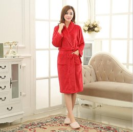 Wholesale Fashion Pajamas For Women - Pop Nice Fashion Spring Winter Women Sleeping Wear Female Solid Long Flannel Pajamas Nightgown Bathrobe for Woman