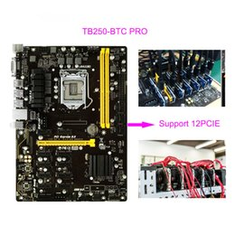 Wholesale Coaxial S Video - TB250-BTC PRO Mining Motherboard 12PCIE Support 12 Video Card BTC Miner Machine Bitcoin Riser Card USB 3.0 1151 DDR4 32G