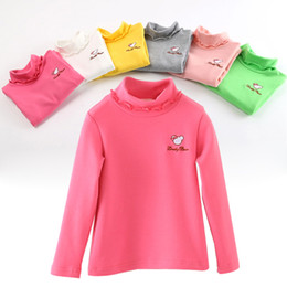 Wholesale Christmas Sugar - Winter Autunm Baby Girl Boy Sugar Color Long Sleeves Solid Color Sweatershirt Cotton Turtleneck Kids Bottoming Shirt free shipping