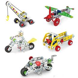 2019 puzzles de camion de jouet Assemblage 3D Métal Ingénierie Véhicules Maquettes Voiture De Jouet Grue Moto Camion Avion Construction Puzzles Construction Jeu Ensemble puzzles de camion de jouet pas cher