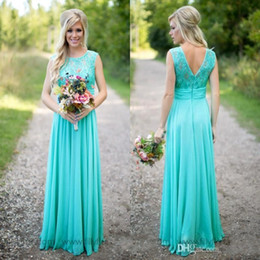 Wholesale Cheap Turquoise Lace Dresses - 2017 Hot Turquoise Bridesmaid Dresses Cheap Scoop Neckline Chiffon Floor Length Lace V Backless Long Bridesmaid Dresses for Country Weddings