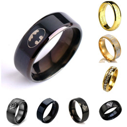 Wholesale Wholesale Batman Party Plates - stainless steel rings Cool Black ring high polished 316L Titanium steel finger rings men boys fashion jewelry Size 7-12 for Batman mens ring