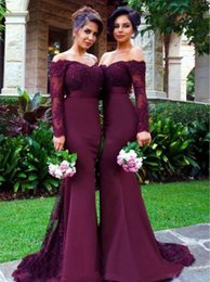 Wholesale New Arrival Red Dress Evening - New Arrival Off-the-Shoulder Wine Red Trumpet Bridesmaid Dresses Mermaid Beaded Sequin Long Satin Evening Prom Gowns with Long Sleeve