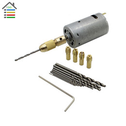 Wholesale Dc Micro Motor 12v - DC 6-12V Electric Motor Drill Press with 0.5-3mm Small Brass Drill Chuck Collets and 10pc 0.5-3mm Micro Twist Drill Bits Set order<$18no tra