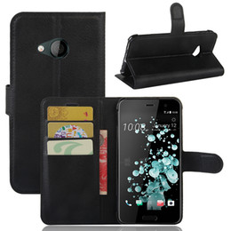 leather playing card holder Coupons - For HTC U PLAY Litchi Wallet Leather+Soft TPU Phone Case Cover Card Slots Holder Pocket Pouch Flip Stand For HTC U Ultra SCA287