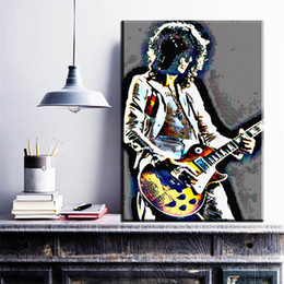 Wholesale Guitar Modern Art Painting - ZZ696 modern abstract pop art cool young man playing guitar canvas pictures oil art painting for livingroom bedorom decoration