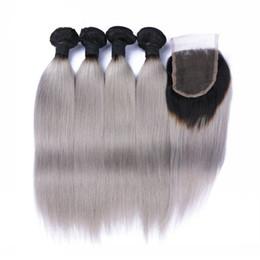 Capelli brasiliani onda grigio tessuto tessere 4 pezzi con chiusura grigio ombre estensioni dei capelli ombre con chiusura 1b / grigio diritto capelli umani serici da solo estensioni dei capelli indiani fornitori