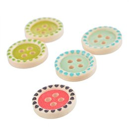 Wholesale Scrapbooking Dots - 2016 Mixed Random Round Dot 4 Holes Wooden Buttton For Sewing Knitting Crochet Card Making And Scrapbooking 15mm Pack Of 200pcs I321L