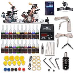 Wholesale tattoo machine gun power supply - Complete Tattoo Kit needles 2 Machine Gun Power Supply 20 Color Ink Tip D175GD