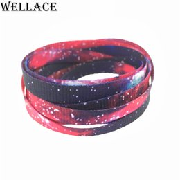Wholesale Hotel Galaxy - Wellace Lovely Hot Prints Boys Girls Flat Galaxy Shoelace Printing Shoelaces sublimated Shoe Lace Polyester Strings 45'' 114cm
