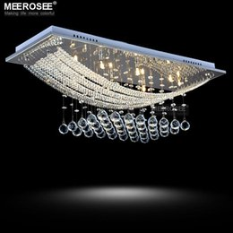 Wholesale Living Room Ceiling Lights Rectangle - Modern crystal ceiling light fixture Rectangle lustre crystal light  lamp modern ceiling lights for living room MD5081-L8