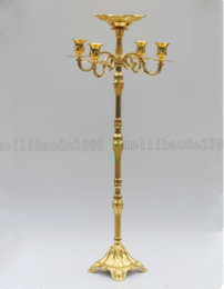 Wholesale Flower Art Activities - BE112 Elegant Metal Plated 63cm Height 5-arms Candelabra With Flower Bowl In The Middle Center Candle Holder For Weddings Party Events