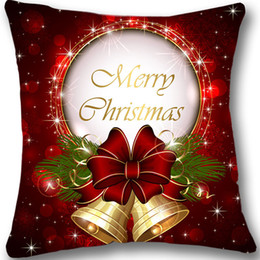 Wholesale Xmas Throw Pillows - New Christmas Custom Cushion Cover 18&Quot ;Red Decorative Throw Pillow Case Christmas Bell Pillowcase Xmas Decoration Gift Two Sides