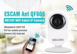 Wholesale Pir Mp - ESCAM Ant QF605 HD 720P ONVIF H.264 Dual stream P2P 1.0MP 3.6mm Lens WiFi PIR Alarm Camera