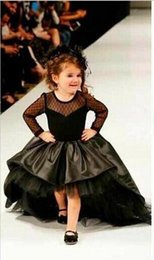 Wholesale Girls Long Net Gown - 2018 Black Flower Girl Dresses High Low Scoop Net Long Sleeves Knee Length Satin Tulle Bow Ball Gown Kids Wedding Party Dresses