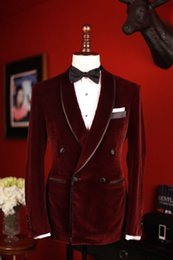 Wholesale Men S Double Breasted Suits - 2016 Tailored Double Breasted Velvet Burgundy Satin Lapel Groom Tuxedo Wedding Suits For Men 3 pieces set(Jacket+Pants+Bowtie)