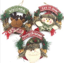 Wholesale Wholesale Xmas Garlands - Christmas Wreath Decor For Xmas Party Door Wall Hanging Garland Ornament Merry Christmas Party Garland LJJK799