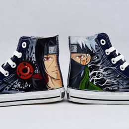 Wholesale Naruto Figure New - New Arrival Naruto Men Women Hand Painted Canvas Shoes High Top Style Japan Anime Figures Boys Girls Cute Design Fashion Shoes