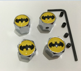 Wholesale Tire Anti Theft - 4pcs set batman pattern Metal Anti-theft Tire Valve Style Car Wheel Tyre Dust Caps for all car