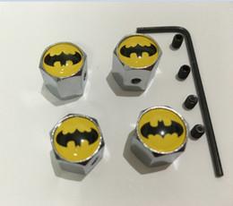 Wholesale Dust Caps For Cars - 4pcs set batman pattern Metal Anti-theft Tire Valve Style Car Wheel Tyre Dust Caps for all car