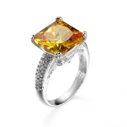 Wholesale Yellow Topaz Rings For Women - Vintage Half Triple Row Pave Band 4-Prong Setting Yellow CZ Square Rings Silver Tone Faceted Stone Wide Faux Topaz Solitaire Rings for Women