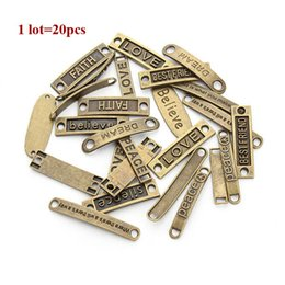 Wholesale Cross Connectors For Jewelry Making - 20pc lot Mixed Antique Bronze Alphabet Charm Connectors For Jewelry Making Love Believe Peace Dream Charms for DIY Bracelets