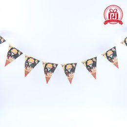 Wholesale Party Scene - 2016 Halloween triangle pull flag coloured [variegated] flags 5 style 8piece set Halloween decorations KTV bar party scene decoration