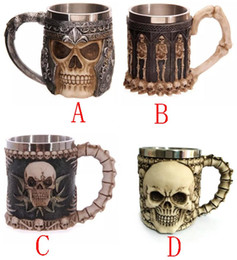 Wholesale Lens 3d Blue - 2017 manufacturers sell like hot cakes Personality 3D Skull Cup Creative stainless steel mug Skeleton Knight Coffee Cup