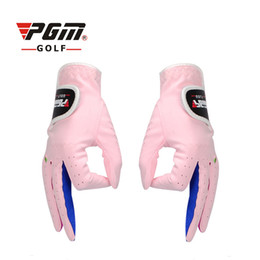 Wholesale Girl Sport Cloth - Original PGM Brand Boys Girls Outdoor Sport Superfine Fiber Cloth Golf Gloves Breathable Anti-slipping Gloves Pair 2 Color 2513011