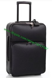 Wholesale roll coat - Top Grade Black Plaid Canvas Coated Real Leather Rolling Luggage Fashion Designer DarwBar Travel Suitcase Pegasse N21225 N41385