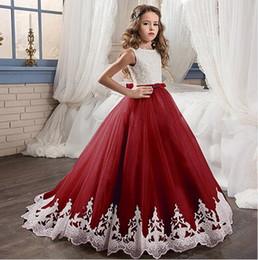 Canada Blush Rose Fleur Fille Robes Pour la Princesse De Mariage Tutu Paillettes Appliqué Dentelle Bow 2018 Vintage Enfant Filles Première Communion Robe Offre