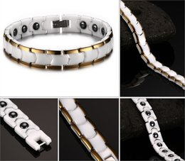 Braccialetto bianco dell'oro delle signore online-Signora Health Care bracciali ematite magnetici braccialetto 18cm * 9mm moda oro bianco bracciale in ceramica raffinato amante gioielli regalo di natale B822S