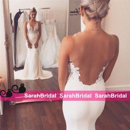 Wholesale Silver Satin Wedding Reception - Sexy Trumpet Lace Appliques Sheer Backless Satin Wedding Dresses Bridal Gowns Bodycon Cheap Formal Full Reception Party Wear Custom Made