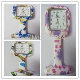 Wholesale Nurse Fobs - Wholesale-Wholesale 100pcs lot 7colors Square Colorful Prints Silicone Nurse watch Pocket Watches Doctor Fob Quartz Watch NW014