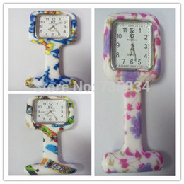 Wholesale Nursing Fob Watches - Wholesale-Wholesale 100pcs lot 7colors Square Colorful Prints Silicone Nurse watch Pocket Watches Doctor Fob Quartz Watch NW014