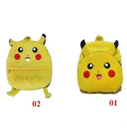 Wholesale Pikachu Plush Backpack - New Pikachu Backpacks Pikachu Plush Backpacks Poke Go Schoolbags for kids Poke Go Backpacks Christmas Xmas Gift FREE SHIP D683 30pcs