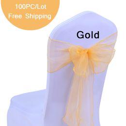 """Arco de presente de organza on-line-100 pc Cadeira de Casamento Arco Sashes Organza Pearl Yarn cadeira Capa Bow Tie para o Presente de Casamento Decoração Do Partido Do Vintage 7 """"X108"""" Arcos de Organza Pura"""