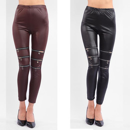 Wholesale Cut Out Black Leggings - 2016 Hot Fashion Ladies Female Elastic Zipper Cut-out Women Sexy Skinny pants Leggings Trousers Coffee Black free size