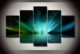 Wholesale Group Canvas Painting Framed - 5 Pcs Set No Framed HD Printed aurora borealis landscape Group Painting Canvas Print room decor print poster picture digital painting number