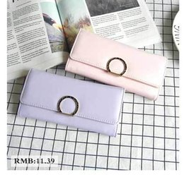 Wholesale Cards Two Folds - 2017 new high-quality ladies wallet, retro simple color long paragraph two fold zipper pocket money wallet card bag