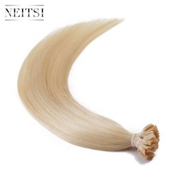 Wholesale Hair Extensions Colors U Tip - Neitsi 20'' 1g pc 50pcs lot P24 60# Piano Mixed Colors Nail U Tip Hair Straght Human Hair Extensions Nails Hair Extensions