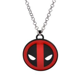 Wholesale X Men Necklace - X-Men movie jewelry Wade Wilson deadpool Mask Red With Black Enamel big Pendant Fashion Movie Marvel Men Chain Statement Necklaces for men