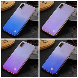 Wholesale Iphone Rainbow Crystal - Carbon Fiber Hard Plastic Case For Iphone X Chromed Colorful Clear Crystal Dual Gradient Rainbow Back Cover Gel Transparent Stylish