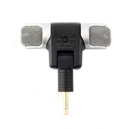 Wholesale Karaoke Laptop Microphone - 1pc New Mini Stereo Microphone Mic 3.5mm Mini Jack PC Laptop Notebook Hot Worldwide Promotion Cheap microphone for canon 5d mark ii